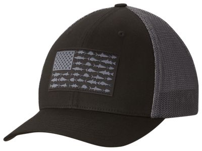 cccbd278017d7 Columbia PFG Fish Flag Mesh Ball Cap for Men BlackFish Flag SM