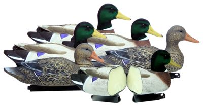 Higdon Decoys Flocked-Head Battleship Foam-Filled Mallard Duck Decoys