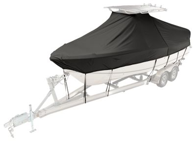 Taylor Made Boston Whaler Custom T-Top Boat Cover - Dauntless 200 - High Rail Bow Roller Single Engine - Black Weathermax Fabric