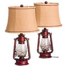 White River Oil Lantern Table Lamp Set