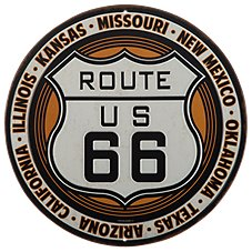 Open Road Brands Route 66 Embossed Die-Cut Tin Sign