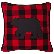 Park Designs Buffalo Check Bear Applique Throw Pillow