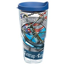 Tervis Tumbler Navy Anchor Insulated Wrap with Lid