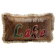 Welcome to the Lake Faux Leather Throw Pillow