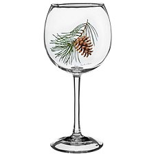 Wild Wings Pinecone Red Wine 4-Piece Bar Glass Set