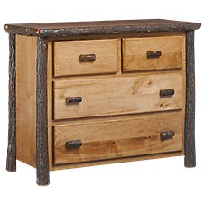 Fireside Lodge Furniture Hickory 4-Drawer Lowboy Dresser