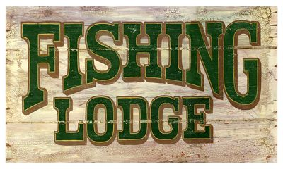 "Red Horse Fishing Lodge Vintage Sign - 9"" x 22"""