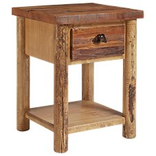 Lodgepole Bedroom Furniture Collection Bass 1-Drawer Nightstand with Shelf