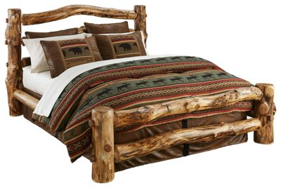 Natural Wood Bedroom Furniture Collection Log Bed King