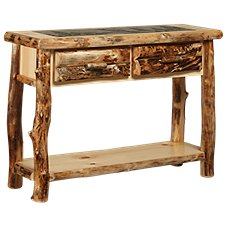 Natural Wood 2-Drawer Sofa Table