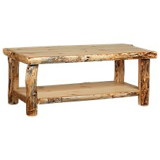 Natural Wood Living Room Furniture Collection Coffee Table With Shelf