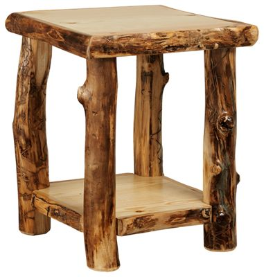 Natural Wood Living Room Furniture Collection End Table With Shelf ...