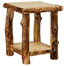 Natural Wood Living Room Furniture Collection End Table With Shelf
