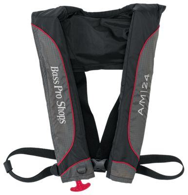 Bass Pro Shops A/M 24 Auto/Manual Inflatable Life Vest - Black/Gray/Red