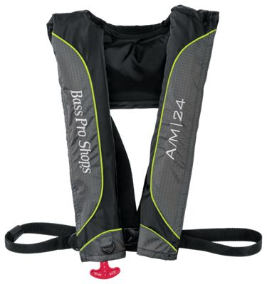 Bass Pro Shops A/M 24 Auto/Manual Inflatable Life Vest - Black/Gray/Green