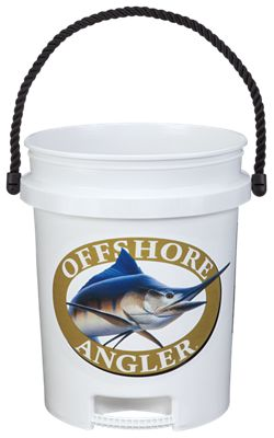 offshore angler logo 5 gallon plastic bucket with rope handle bass pro shops. Black Bedroom Furniture Sets. Home Design Ideas