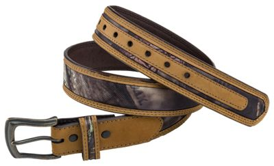 RedHead Leather Edged Camo Belt for Men - Mossy Oak Break-Up Country - 34