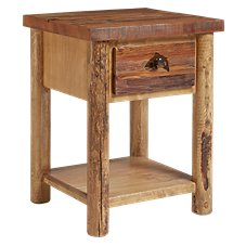 Lodgepole Bedroom Furniture Collection Trout 1-Drawer Nightstand with Shelf