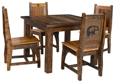Barnwood Dining Room Collection Bear 5 Piece Dining Table and Chairs Set