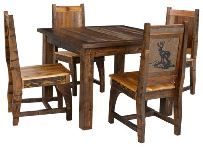 Barnwood Dining Room Collection 5 Piece Table and Chairs Set