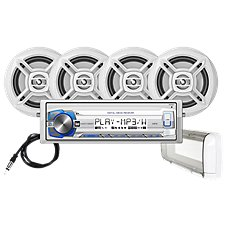 Dual AM/FM/MP3 Mechless Receiver with Bluetooth, 4 Marine Speakers and Splash Guard