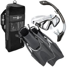 Aqua Lung Admiral Mask, Island Dry Snorkel and Hingeflex Fin Set for Adults