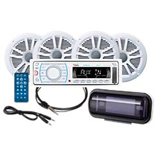 Boss Audio AM/FM Mechless Bluetooth Receiver and 6.5'' Marine 4-Speaker Set