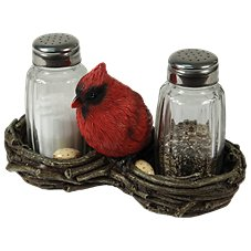 Cardinal Holder with Glass Salt and Pepper Shaker Set