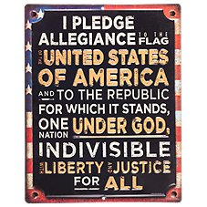Open Road Brands Pledge of Allegiance Embossed Die-Cut Tin Sign