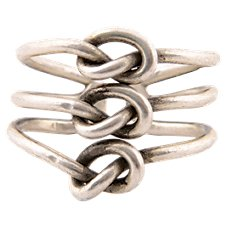 Pink House Knotted Adjustable Silver-Tone Ring: