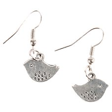 Pink House Lovebird Silver-Tone Earrings