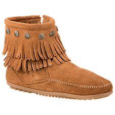 Minnetonka Moccasin Double Fringe Side Zip Boots for Ladies