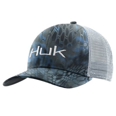 Huk Kryptek Logo Trucker Cap for Men – Kryptek Neptune/White
