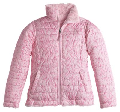 7685d56347d The North Face Reversible Mossbud Swirl Jacket for Girls Coy Pink Fur Print  M