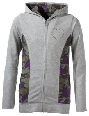 Bass Pro Shops Heart Full-Zip Hoodie for Girls - Heather Grey - 4-5 thumbnail