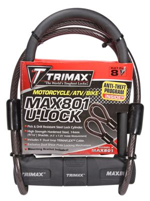 Trimax Max-Security U-Shackle Lock with Dual Loop Cable by