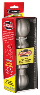 Trimax Stainless Steel Double Tow Ball for Aluminum Hitch by