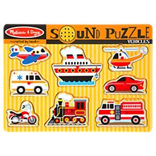 Melissa and Doug 8-Piece Wooden Vehicles Sound Puzzle