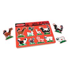 Melissa and Doug Farm Animal Sound Peg Puzzle for Kids