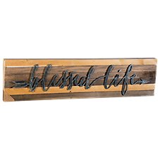 Sweet Bird & Co. Blessed Life Metal Letter Reclaimed Wood Sign
