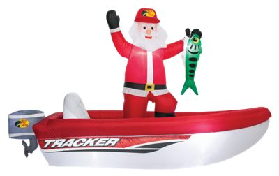 Bass Pro Shops Inflatable Santa In Tracker Boat