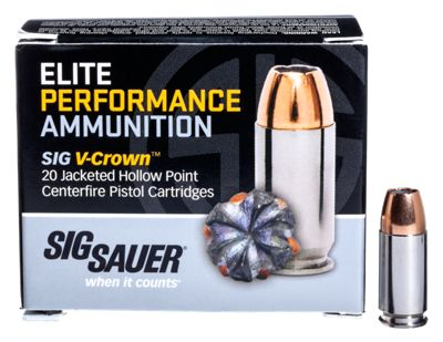 Sig Sauer Elite Performance V-Crown Handgun Ammo – .380 Auto Colt Pistol – 90 Grain – 20 Rounds