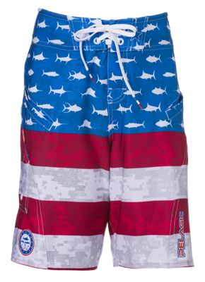 Pelagic Sharkskin Boardshort Shorts for Kids - Red/White/Blue - 24/25