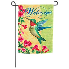 Evergreen Hummingbird Welcome Suede Reflections Garden Flag
