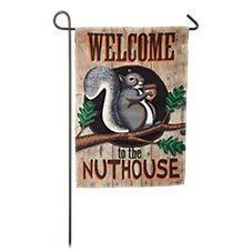 Evergreen Nut House Suede Reflections Garden Flag