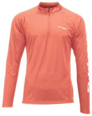 Columbia Terminal Tackle 1/4-Zip Pullover for Men – Bright Peach/White – XL
