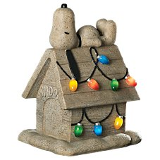 Snoopy on Doghouse with Christmas Lights LED Figurine