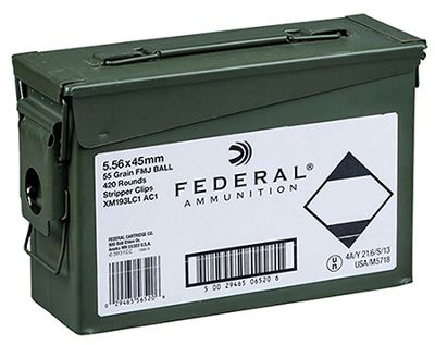 Click here to buy Federal 5.56 NATO XM193 Centerfire Rifle Ammo with Ammo Can.