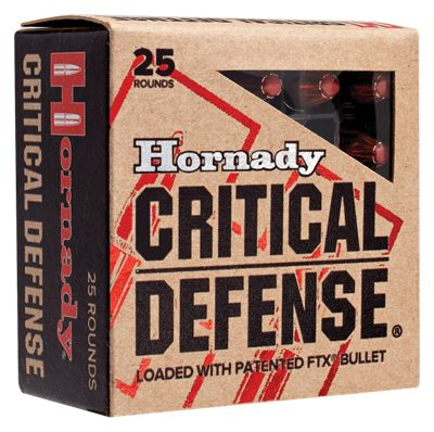 Hornady Critical Defense Handgun Ammo – 9mm Luger – 100 Grain – 25 Rounds