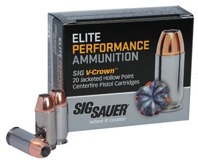 Sig Sauer Elite Performance V-Crown Handgun Ammo – .38 Super – 125 Grain – 20 Rounds